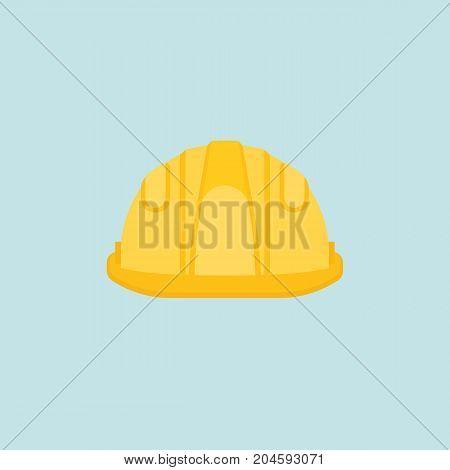 Yellow protective helmet icon in flat design