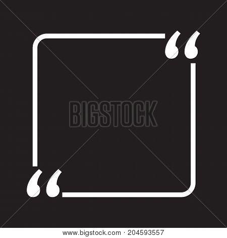 Quotation empty text box Black Background Speech Bubble