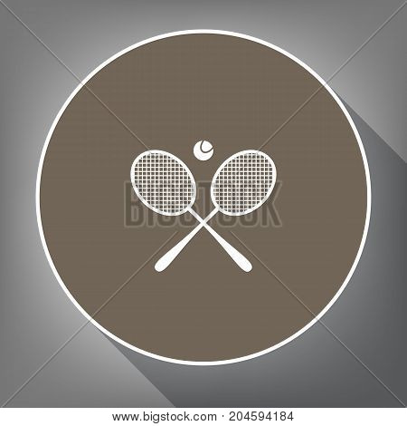 Two tennis racket with ball sign. Vector. White icon on brown circle with white contour and long shadow at gray background. Like top view on postament.