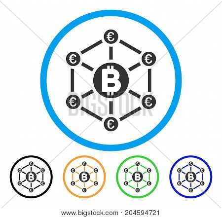 Bitcoin Euro Network icon. Vector illustration style is a flat iconic bitcoin euro network grey rounded symbol inside light blue circle with black, green, blue, yellow color versions.