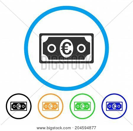 Euro Banknote icon. Vector illustration style is a flat iconic Euro banknote grey rounded symbol inside light blue circle with black, green, blue, yellow color variants.