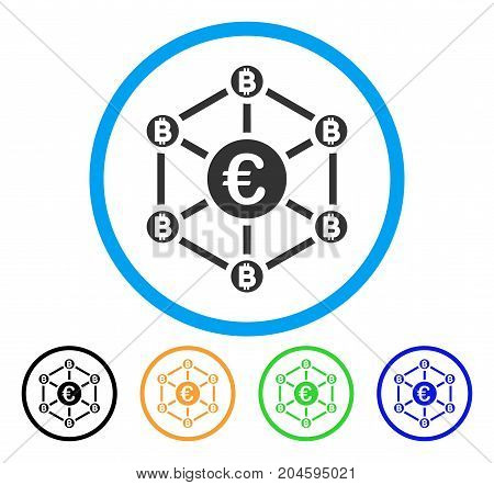 Euro Bitcoin Network icon. Vector illustration style is a flat iconic Euro bitcoin network gray rounded symbol inside light blue circle with black, green, blue, yellow color variants.