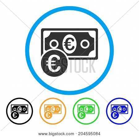 Euro Cash Money icon. Vector illustration style is a flat iconic Euro cash money grey rounded symbol inside light blue circle with black, green, blue, yellow color versions.