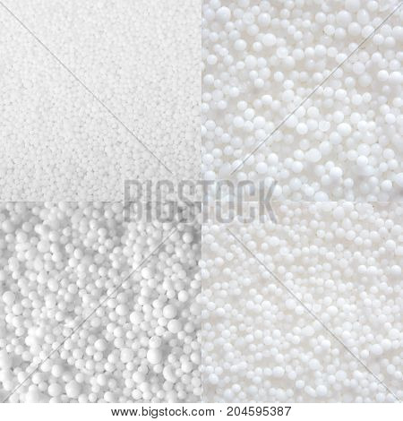 Set of photos of white saltpeter textures consist of many little balls