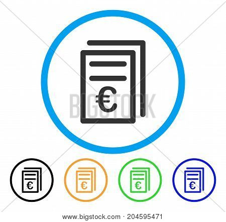 Euro Invoices icon. Vector illustration style is a flat iconic Euro invoices gray rounded symbol inside light blue circle with black, green, blue, yellow color variants.