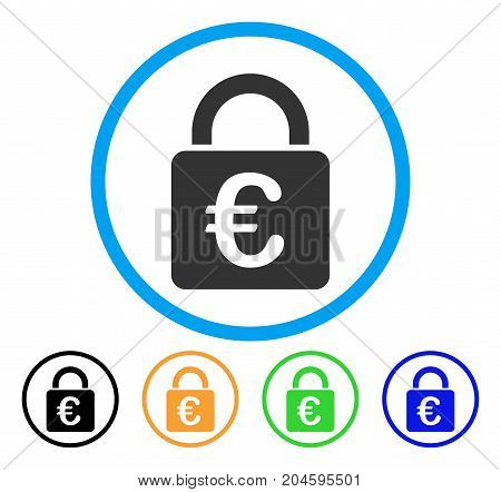 Euro Lock icon. Vector illustration style is a flat iconic Euro lock gray rounded symbol inside light blue circle with black, green, blue, yellow color variants.
