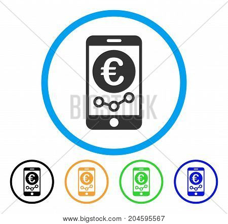 Euro Mobile Market Monitoring icon. Vector illustration style is a flat iconic Euro mobile market monitoring gray rounded symbol inside light blue circle with black, green, blue,