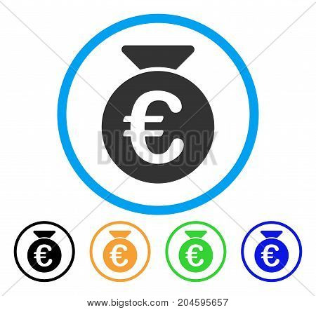 Euro Money Bag icon. Vector illustration style is a flat iconic Euro money bag gray rounded symbol inside light blue circle with black, green, blue, yellow color variants.