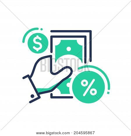 Credit Products - modern vector single line design icon. A symbol of green cash paper money, dollar and percentage, interest, hand on a white background. Banking system, business, finance solution presentation.