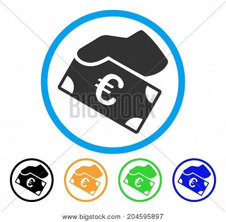 Euro Payment icon. Vector illustration style is a flat iconic Euro payment grey rounded symbol inside light blue circle with black, green, blue, yellow color variants.