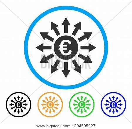 Euro Payments icon. Vector illustration style is a flat iconic Euro payments gray rounded symbol inside light blue circle with black, green, blue, yellow color variants.