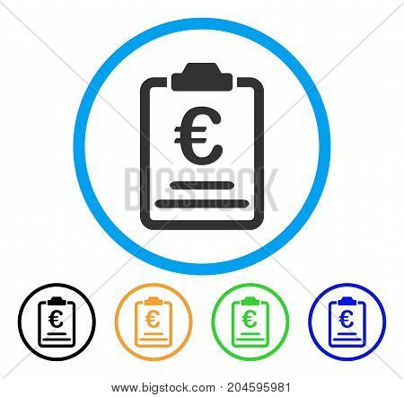 Euro Prices icon. Vector illustration style is a flat iconic Euro prices grey rounded symbol inside light blue circle with black, green, blue, yellow color versions.