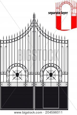 Beautiful antique forged metal gates. The valves and gate are located on separate layers