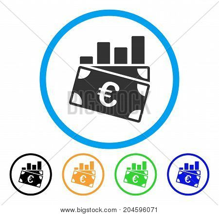 Euro Sales Chart icon. Vector illustration style is a flat iconic Euro sales chart grey rounded symbol inside light blue circle with black, green, blue, yellow color variants.
