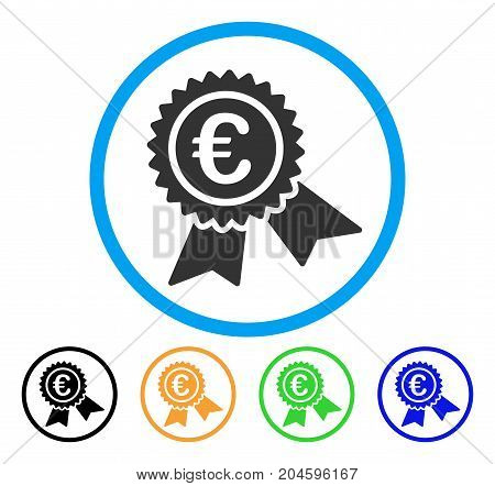 European Guarantee Seal icon. Vector illustration style is a flat iconic European guarantee seal gray rounded symbol inside light blue circle with black, green, blue, yellow color versions.