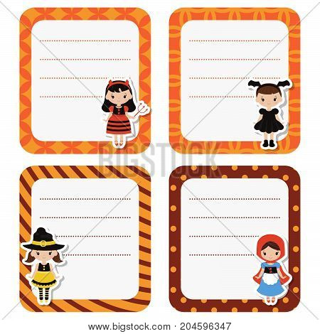 Cute cards with cartoon children in colorful halloween costumes on white background
