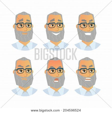 Senior Expressions - vector flat illustration of a random person, employer, supervisor, colleague, employee, cartoon character. Number of faces depicting emotions, angry, smile, happy, smirk, shout,