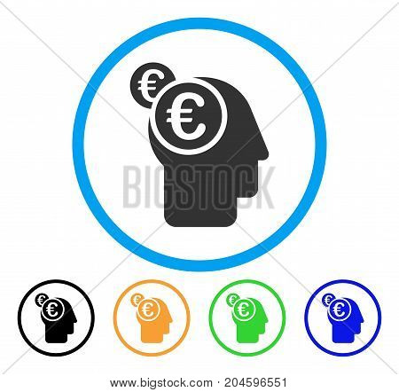 Euro Businessman Intellect icon. Vector illustration style is a flat iconic euro businessman intellect grey rounded symbol inside light blue circle with black, green, blue, yellow color variants.