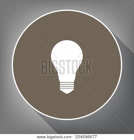 Light lamp sign. Vector. White icon on brown circle with white contour and long shadow at gray background. Like top view on postament.
