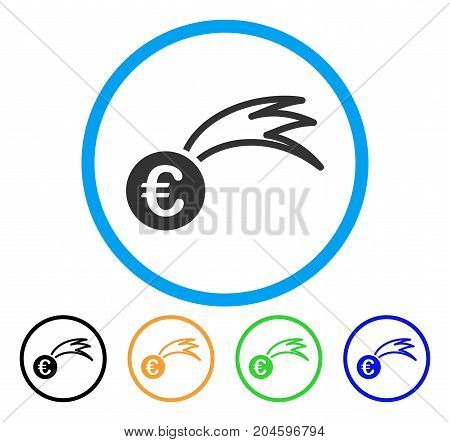 Euro Falling Meteor icon. Vector illustration style is a flat iconic euro falling meteor grey rounded symbol inside light blue circle with black, green, blue, yellow color variants.