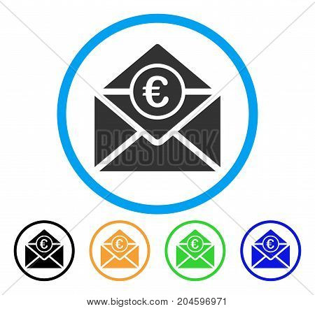 Euro Mail icon. Vector illustration style is a flat iconic euro mail grey rounded symbol inside light blue circle with black, green, blue, yellow color variants.
