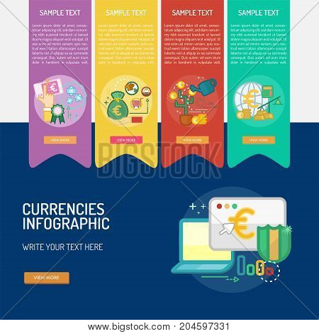 Infographic Currencies |  Set of great infographic flat design illustration concepts for business, finance, currency and much more.