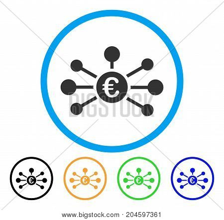 Euro Relations icon. Vector illustration style is a flat iconic euro relations gray rounded symbol inside light blue circle with black, green, blue, yellow color versions.