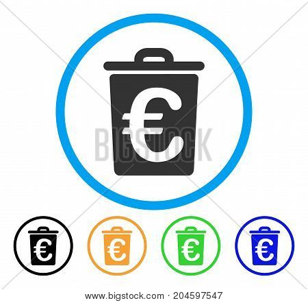 Euro Trash icon. Vector illustration style is a flat iconic euro trash grey rounded symbol inside light blue circle with black, green, blue, yellow color versions.