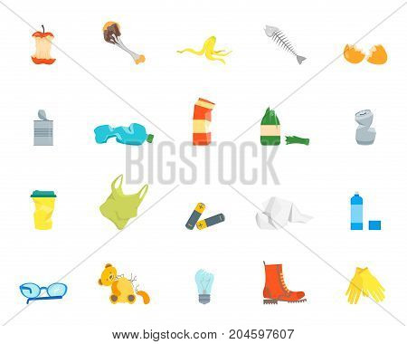 Cartoon Trash and Garbage Color Icons Set Ecology Recycling Concept Flat Design Style. Vector illustration of Waste
