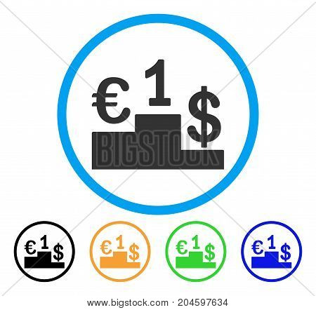 Currency Competition icon. Vector illustration style is a flat iconic currency competition gray rounded symbol inside light blue circle with black, green, blue, yellow color versions.