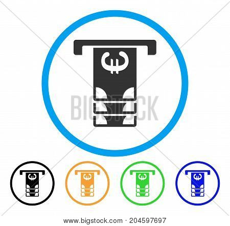 Euro ATM Withdraw icon. Vector illustration style is a flat iconic euro ATM withdraw gray rounded symbol inside light blue circle with black, green, blue, yellow color versions.