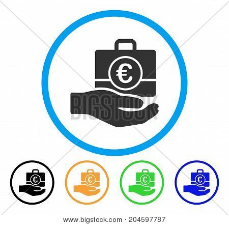 Euro Banking Service Hand icon. Vector illustration style is a flat iconic euro banking service hand gray rounded symbol inside light blue circle with black, green, blue, yellow color variants.