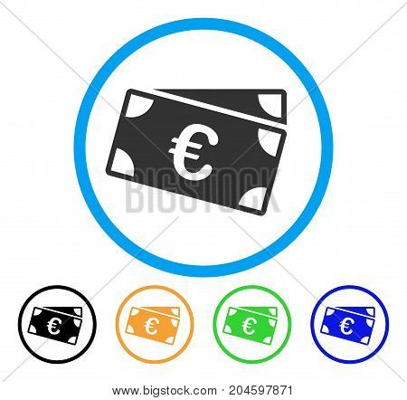 Euro Banknotes icon. Vector illustration style is a flat iconic euro banknotes grey rounded symbol inside light blue circle with black, green, blue, yellow color variants.
