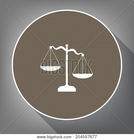 Scales of Justice sign. Vector. White icon on brown circle with white contour and long shadow at gray background. Like top view on postament.