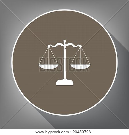 Scales balance sign. Vector. White icon on brown circle with white contour and long shadow at gray background. Like top view on postament.