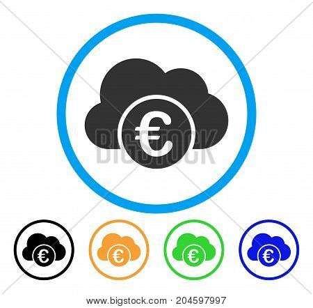 Euro Cloud Banking icon. Vector illustration style is a flat iconic euro cloud banking grey rounded symbol inside light blue circle with black, green, blue, yellow color versions.