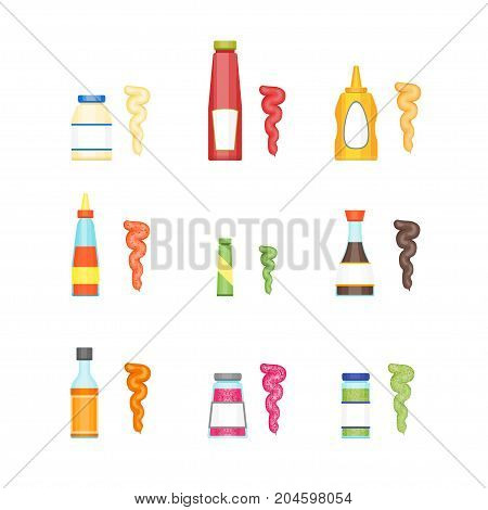 Cartoon Sauces Bottle Set Ketchup, Mustard, Mayonnaise, Wasabi and Other Cuisine Concept Flat Design Style. Vector illustration of Sause for Menu