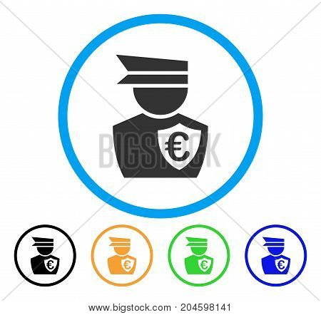 Euro Commissioner icon. Vector illustration style is a flat iconic euro commissioner grey rounded symbol inside light blue circle with black, green, blue, yellow color variants.
