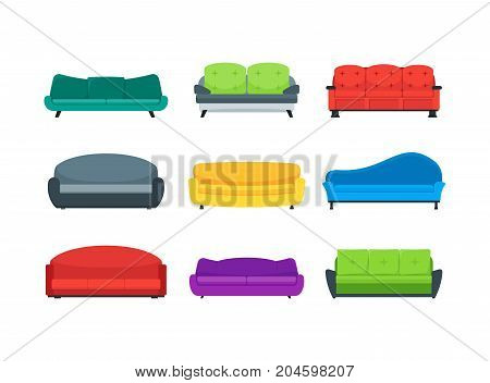 Cartoon Sofa or Couch Color Icons Set Flat Style Design for Interior of Home or Office Furniture for Relaxation . Vector illustration of Sofas
