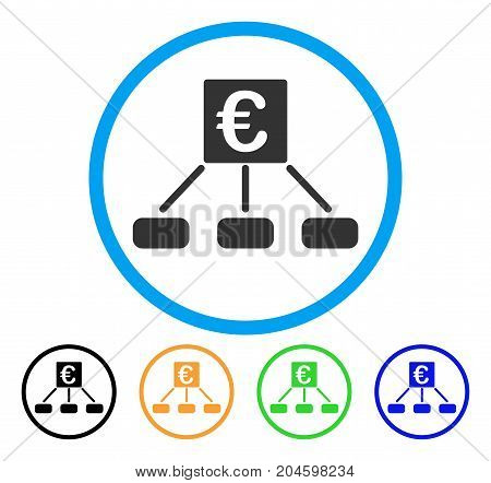 Euro Distribution Links icon. Vector illustration style is a flat iconic euro distribution links gray rounded symbol inside light blue circle with black, green, blue, yellow color variants.