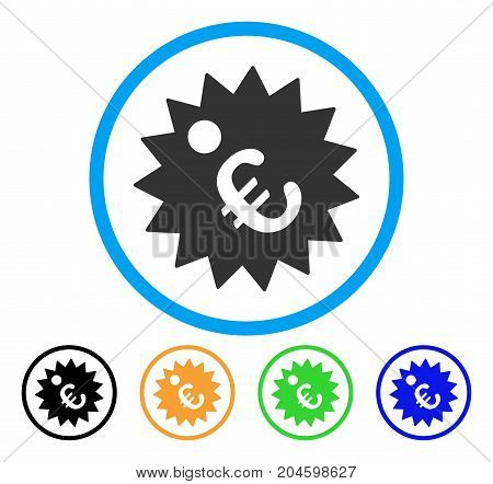Euro Price Tag icon. Vector illustration style is a flat iconic euro price tag gray rounded symbol inside light blue circle with black, green, blue, yellow color variants.