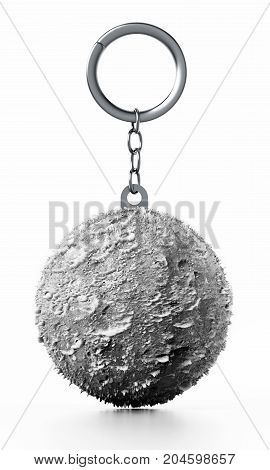 3D Moon connected to keychain. 3D illustration.
