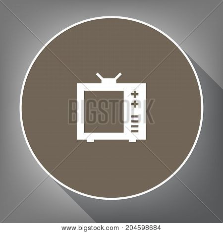 TV sign illustration. Vector. White icon on brown circle with white contour and long shadow at gray background. Like top view on postament.