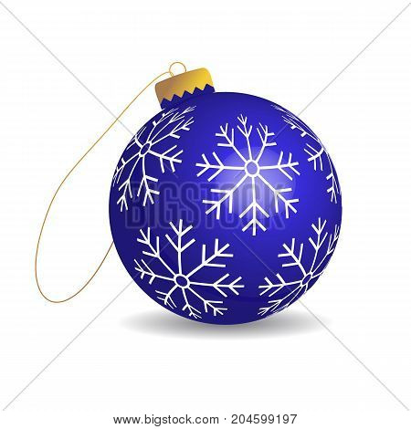 Vector christmas ball with snowflakes. Isolated toy on white background.