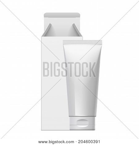 Cool Realistic white tube and packaging. For cosmetics ointments cream tooth paste glue. Separate elements. vector illustration.