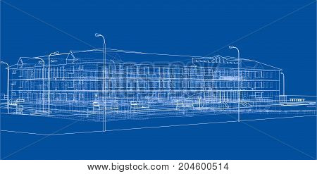Abstract building. Vector rendering of 3d. Wire-frame style. The layers of visible and invisible lines are separated