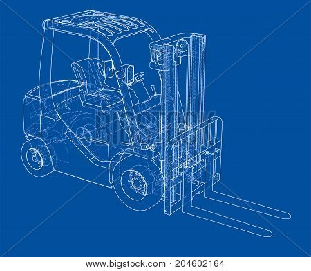 Forklift concept. Vector rendering of 3d. Wire-frame style. The layers of visible and invisible lines are separated
