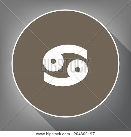 Cancer sign illustration. Vector. White icon on brown circle with white contour and long shadow at gray background. Like top view on postament.