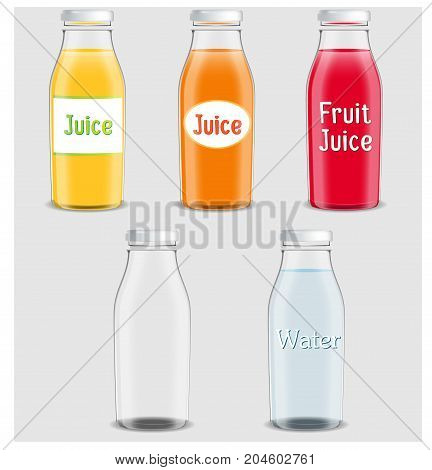 Juice products ad. Vector 3d illustration. Bottles template design. Fruit juice brand packages advertisement poster layout. Full and empty glass bottles.