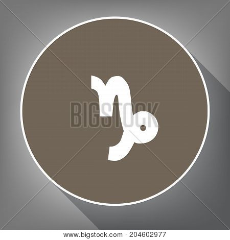 Capricorn sign illustration. Vector. White icon on brown circle with white contour and long shadow at gray background. Like top view on postament.